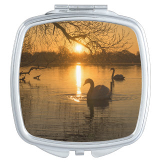 Sunset with Swan Compact Mirror
