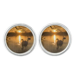 Sunset with Swan Cuff Links