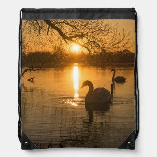 Sunset with Swan Drawstring Bag