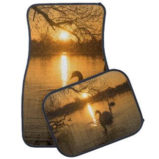 Sunset with Swan Floor Mat