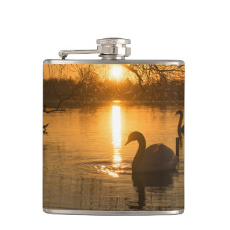 Sunset with Swan Hip Flask