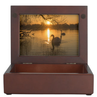 Sunset with Swan Keepsake Box
