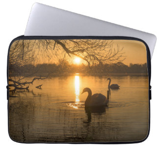 Sunset with Swan Laptop Sleeve