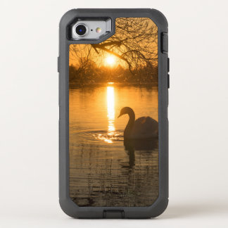 Sunset with Swan OtterBox Defender iPhone 7 Case