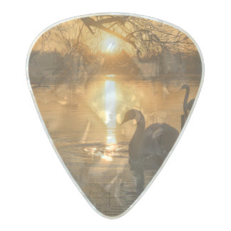 Sunset with Swan Pearl Celluloid Guitar Pick