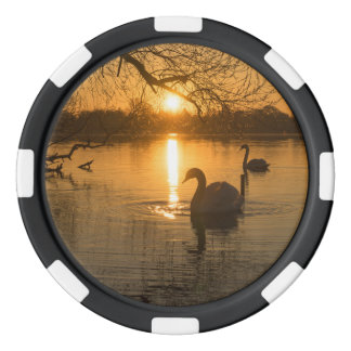 Sunset with Swan Poker Chip Set