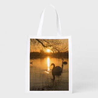 Sunset with Swan Reusable Grocery Bag