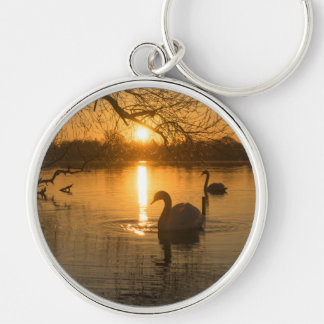 Sunset with Swan Silver-Colored Round Keychain