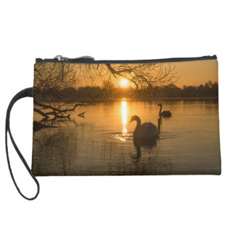 Sunset with Swan Suede Wristlet