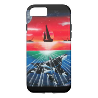 sunset with underwater killer whale pod painting iPhone 7 case