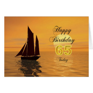 Sunset yacht 65th birthday card