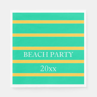 Sunset Yellow Stripes on Beach Green Personalized Paper Napkins
