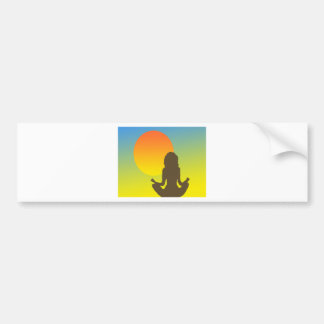 sunset yoga car bumper sticker