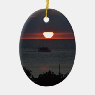 Sunsetting over Lake Michigan Ceramic Ornament
