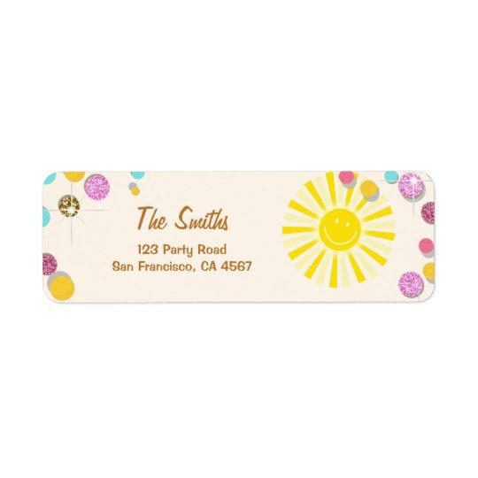 Sunshine Address Labels Summer Pink Gold Mint