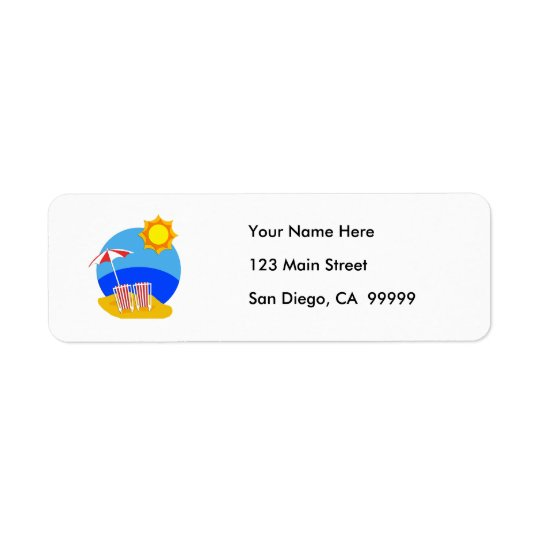 Sunshine Beach Day Return Address Label
