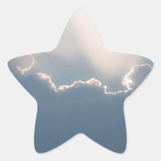 Sunshine behind clouds star sticker