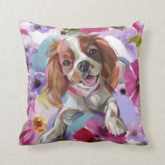 'Sunshine' blenheim cavalier dog art pillow - pink