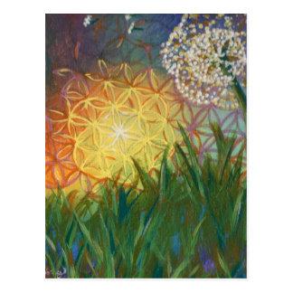 Sunshine Dandelion Sacred Geometry Landscape Postcard