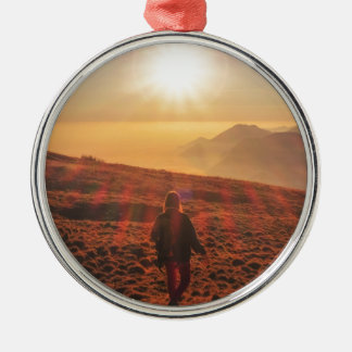 Sunshine - Dawn or Dusk Silver-Colored Round Ornament