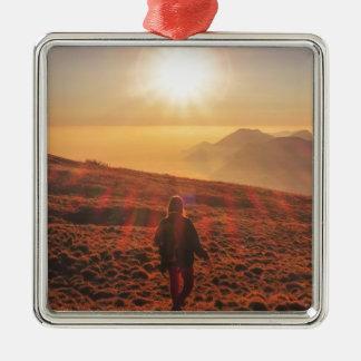 Sunshine - Dawn or Dusk Silver-Colored Square Ornament