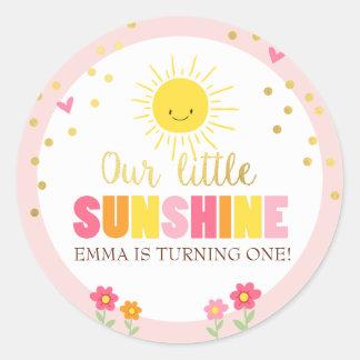 Sunshine Envelope seal sticker Birthday Girl Pink