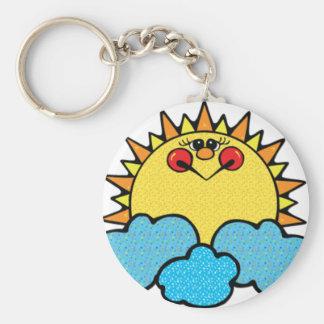 sunshine face basic round button keychain