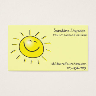 Sunshine family daycare centre childcare business card