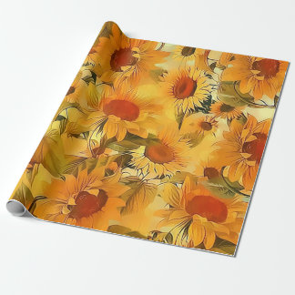 Sunshine Floral Abstract Wrapping Paper
