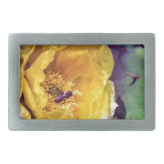 Sunshine, Flowers and Bees. Nature-Themed. Rectangular Belt Buckle