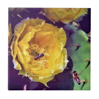 Sunshine, Flowers and Bees. Nature-Themed. Tile