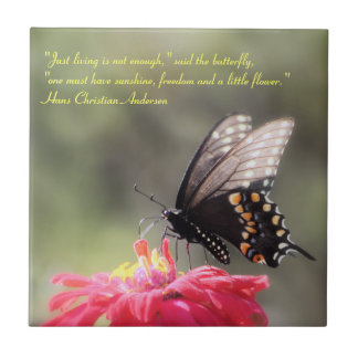 """Sunshine, Freedom, Flower"" Butterfly Quote Ceramic Tile"