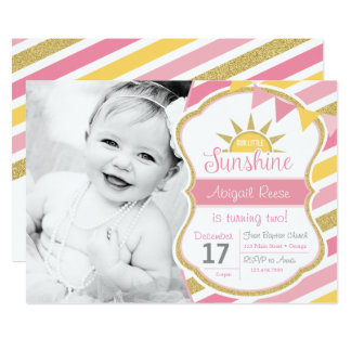 Sunshine Glitter Birthday Invitation