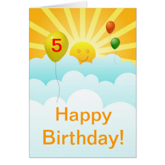 Sunshine Happy Face and Balloons Birthday Age Spec Card