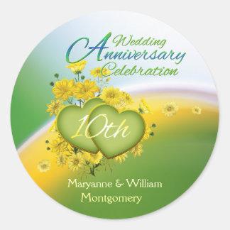 Sunshine Hearts 10th Wedding Anniversary Party Classic Round Sticker