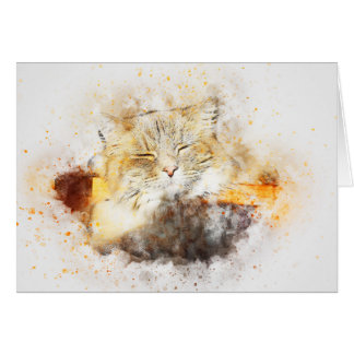 Sunshine Kitty | Abstract | Watercolor Card