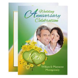 Sunshine Love 10th Wedding Anniversary Party Photo Card