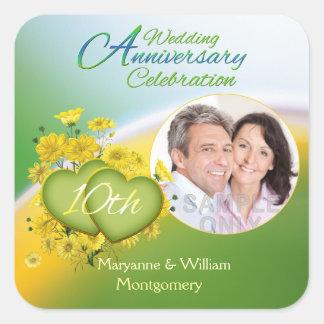 Sunshine Love 10th Wedding Anniversary Party Photo Square Sticker