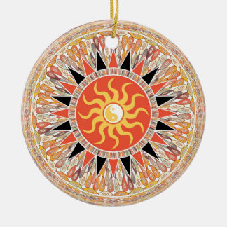 Sunshine mandala round ceramic ornament