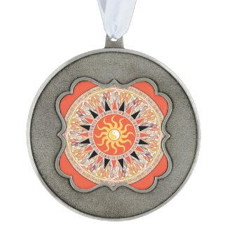 Sunshine mandala scalloped pewter ornament