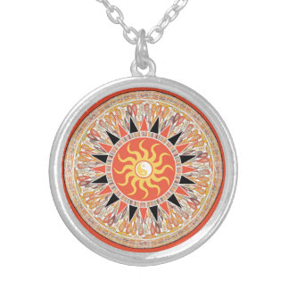 Sunshine mandala silver plated necklace