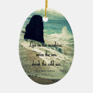 Sunshine ocean sea quote ceramic oval ornament