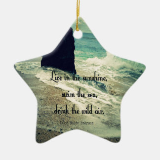 Sunshine ocean sea quote ceramic star ornament