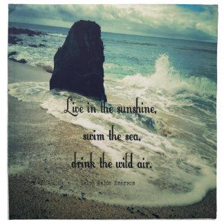 Sunshine ocean sea quote printed napkins