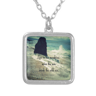 Sunshine ocean sea quote silver plated necklace