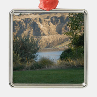 Sunshine on the Canyon Wall Silver-Colored Square Ornament