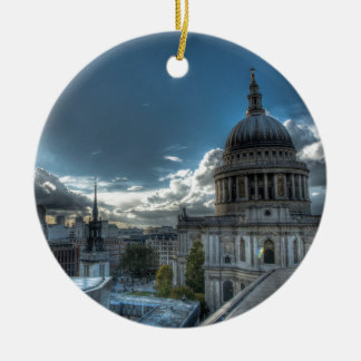 Sunshine over St. Paul's Cathedral, London Round Ceramic Ornament