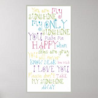 Sunshine Poem Colorful Text Design Poster