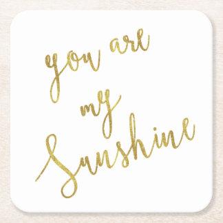 Sunshine Quote Faux Gold Foil Glitter Background Square Paper Coaster