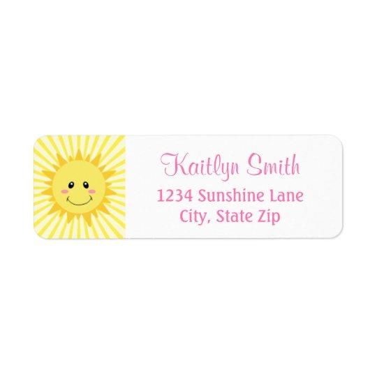 Sunshine Return Address Label